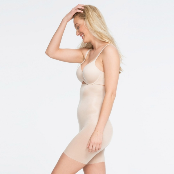 Spanx Skinny Britches High-Waisted Mid-Thigh Short Natural