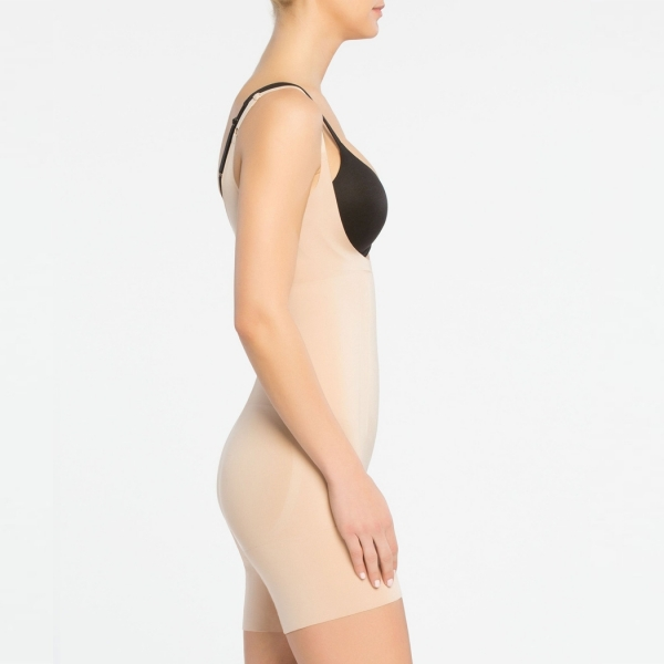 Spanx OnCore Open-Bust Mid-Thigh Bodysuit Soft Nude