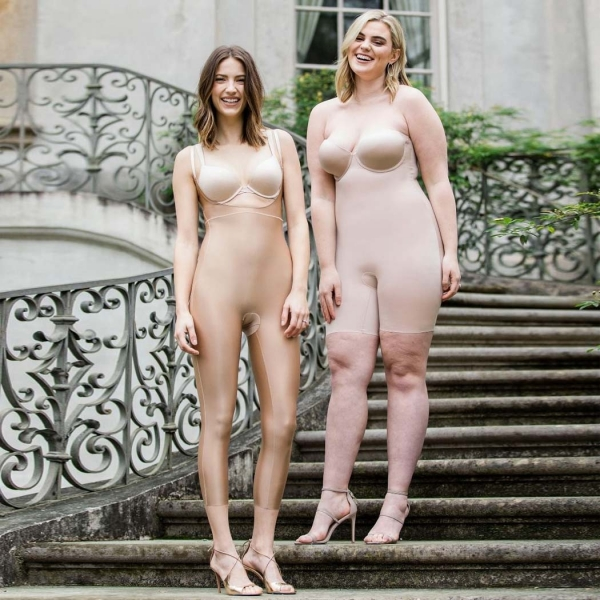 Spanx Suit Your Fancy Open-Bust Catsuit Beige