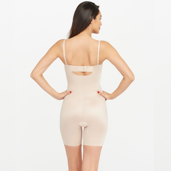 Spanx Suit Your Fancy Strapless Cupped Mid-Thigh Bodysuit Beige