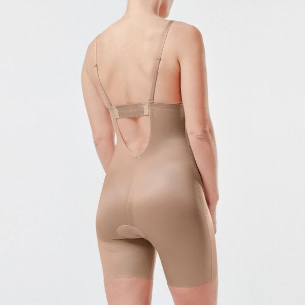 Suit Your Fancy Plunge Low-Back Mid-Thigh Bodysuit Beige