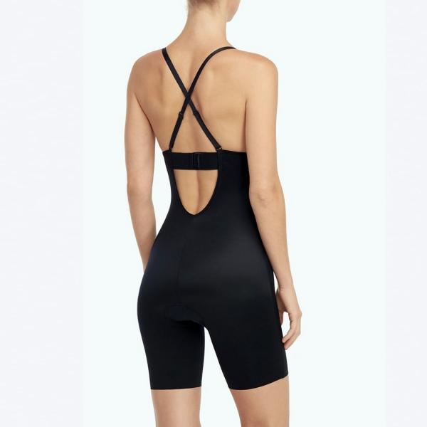Suit Your Fancy Plunge Low-Back Mid-Thigh Bodysuit Very Black