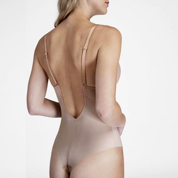 Spanx Suit Your Fancy Plunge Low-Back Thong Bodysuit Beige