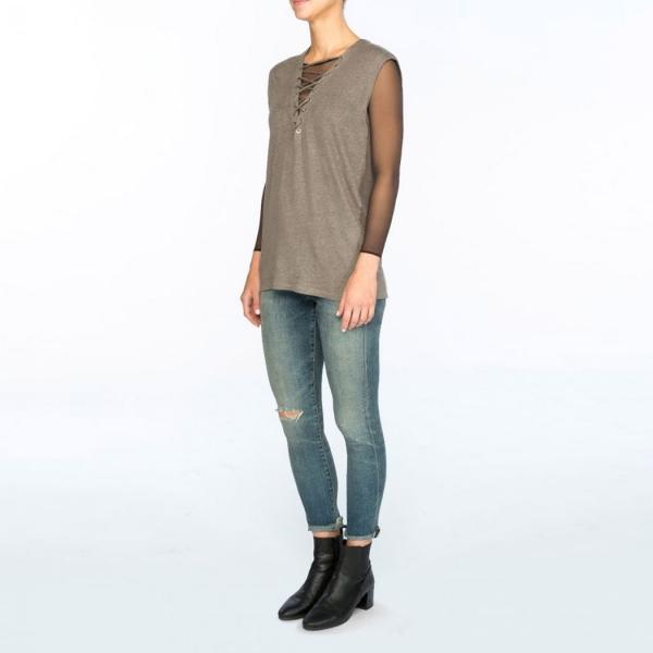 SPANX® Sheer Fashion Mesh Thong Bodysuit Very Black