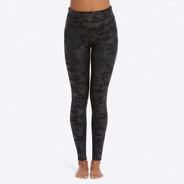 Spanx Faux Leather Camo Leggings Black Camo