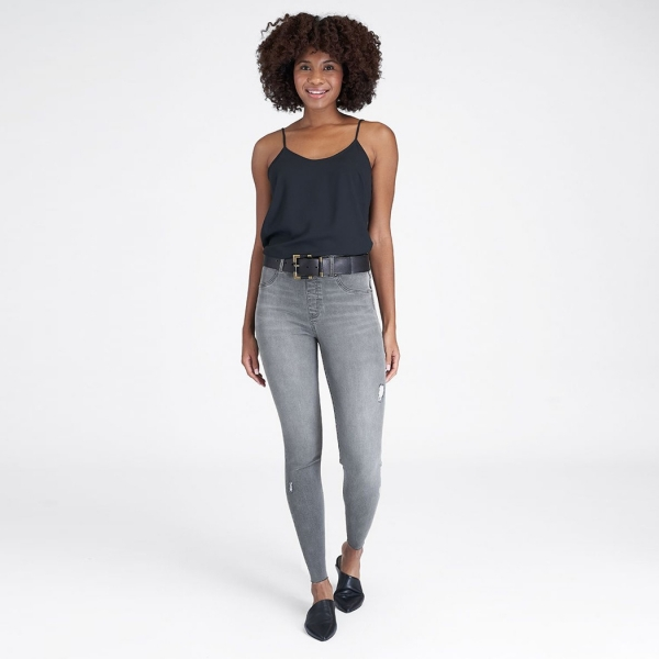Spanx Distressed Skinny Jeans Vintage Grey