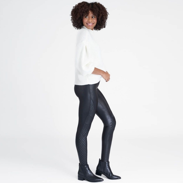 Spanx Faux Leather Quilted Leggings Very Black