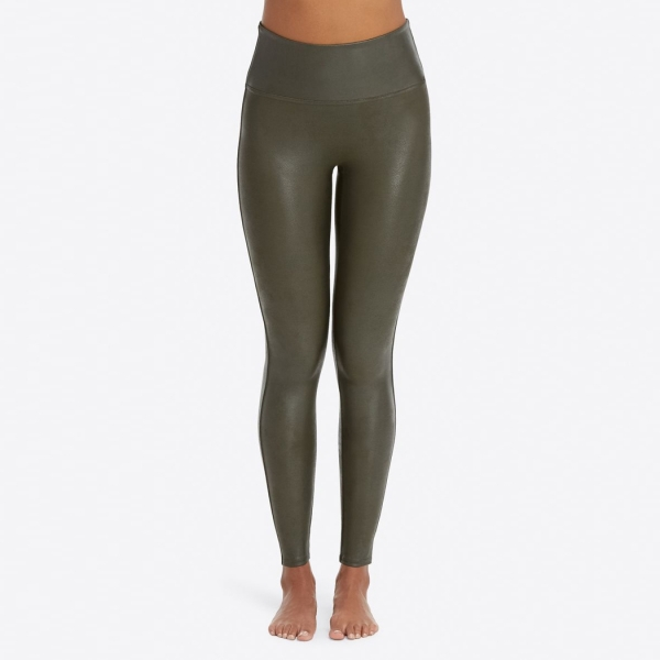 Spanx Faux Leather Leggings Rich Olive